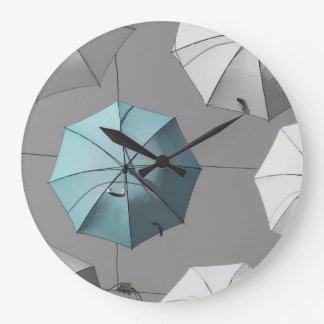 Blue Umbrella Round Wall Clock