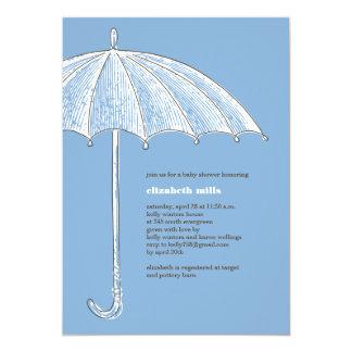 Blue Umbrella Shower Party Invitations