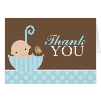 Blue Umbrella Thank You Card