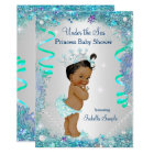 Blue Under The Sea Princess Baby Shower Ethnic Card