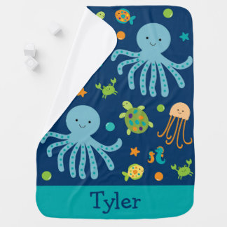 Blue Under The Sea Receiving Blanket