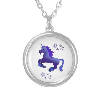 Blue Unicorn and Stars Necklace
