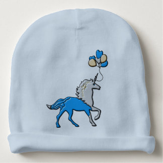 Blue unicorn baby beanie