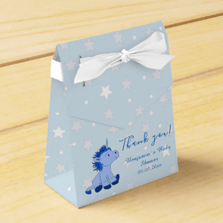 Blue Unicorn Baby shower Party favor box