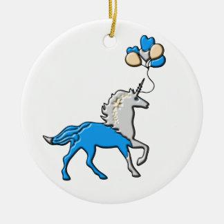 Blue unicorn ceramic ornament