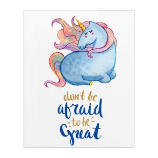 Blue Unicorn Inspirational Quote Acrylic Wall Art