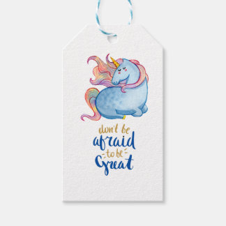 Blue Unicorn Inspirational Quote Gift Tags