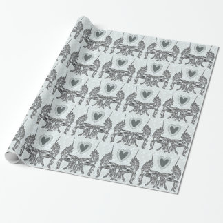 Blue Unicorn Love Wrapping Paper