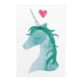 Blue Unicorn Magic with Heart Acrylic Wall Art