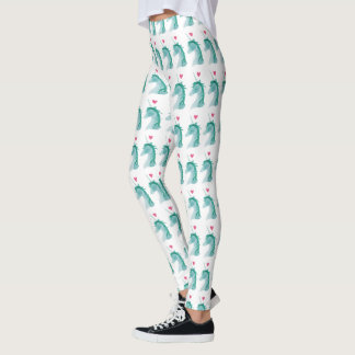Blue Unicorn Magic with Heart Leggings