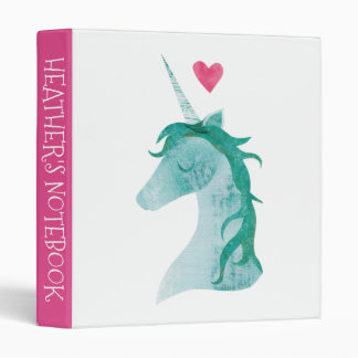 Blue Unicorn Magic with Heart Vinyl Binder