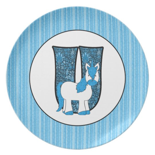 "Blue Unicorn Monogrammed ""U"" Kid's Plate"