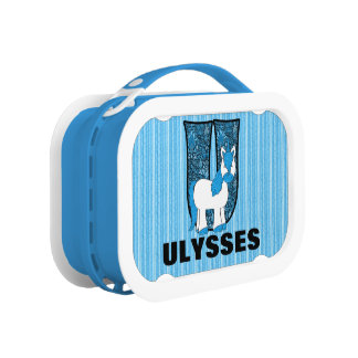 "Blue Unicorn Monogrammed ""U"" Lunch Box"