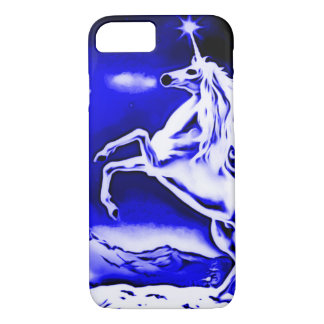 Blue Unicorn Night Airbrush Art iPhone 7 Case