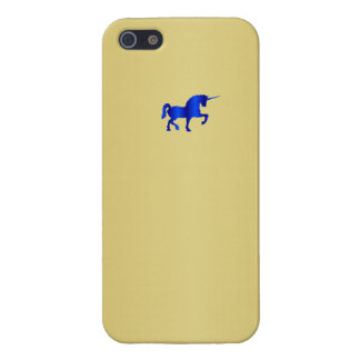 Blue Unicorn on Gold Plate  Iphone 5 Case