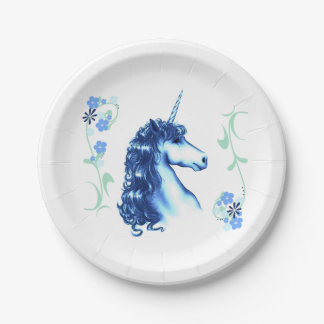 Blue Unicorn Paper Plates