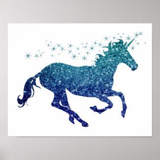 Blue Unicorn Sparkle Poster