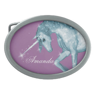 Blue Unicorn Sparkles Belt Buckle