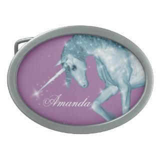 Blue Unicorn Sparkles Oval Belt Buckles