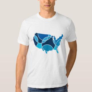Blue United States map Tshirts