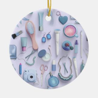 Blue Vanity Table Round Ceramic Ornament