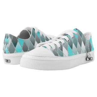 Blue Variegated Diamonds Low-Top Sneakers