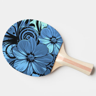 blue vector flowers swirl art ping pong paddle