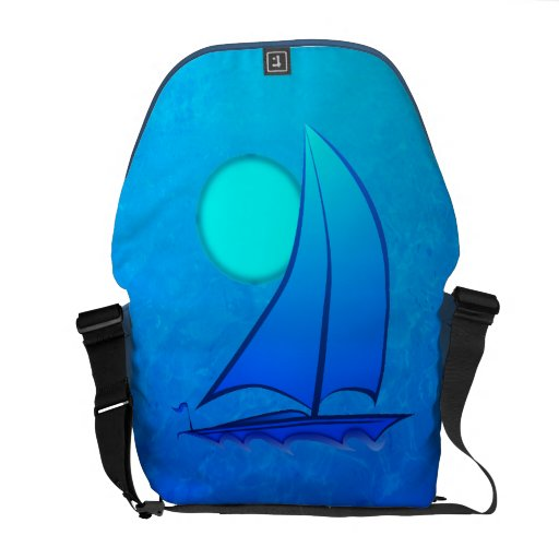 Blue Vector Sailboat Courier Bag