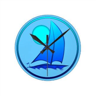 Blue Vector Sailboat Round Clock