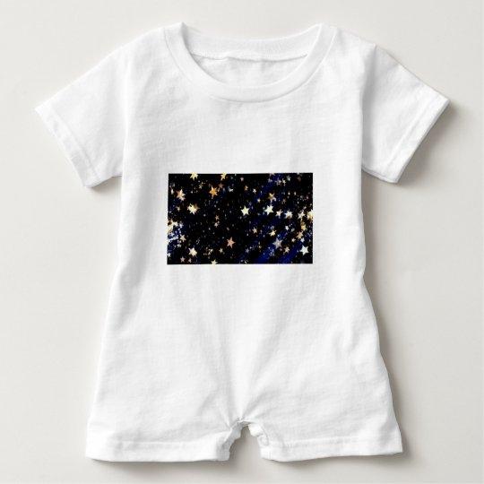 Blue Velvet Effect Stars Baby Romper
