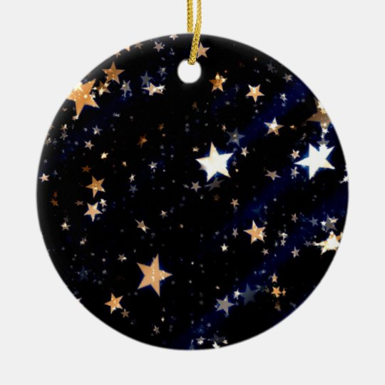 Blue Velvet Effect Stars Ceramic Ornament