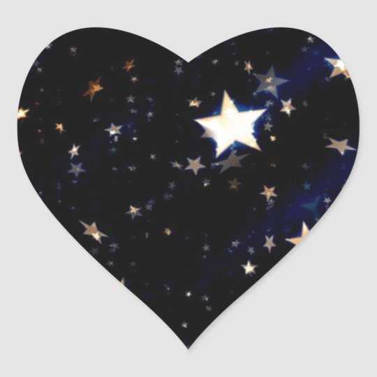 Blue Velvet Effect Stars Heart Sticker