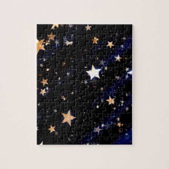 Blue Velvet Effect Stars Jigsaw Puzzle