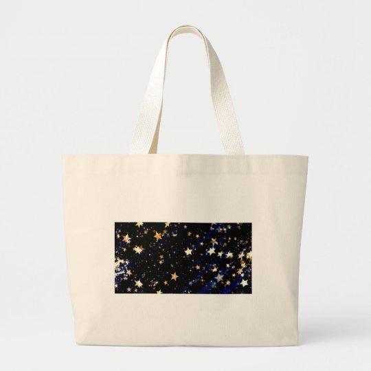 Blue Velvet Effect Stars Large Tote Bag