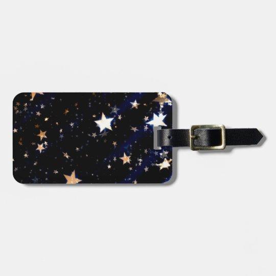 Blue Velvet Effect Stars Luggage Tag