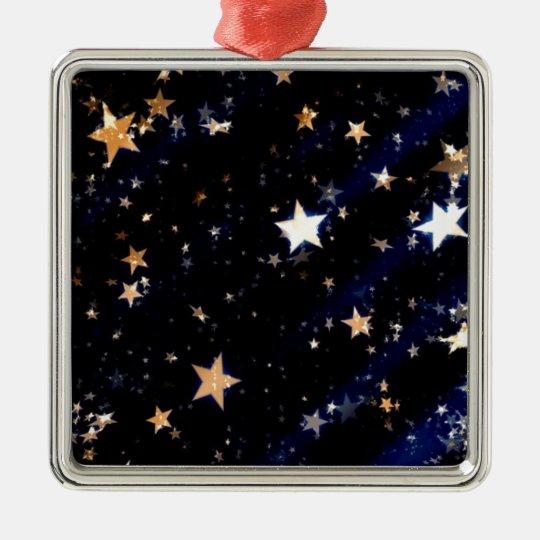 Blue Velvet Effect Stars Metal Ornament