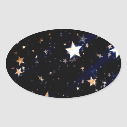 Blue Velvet Effect Stars Oval Sticker