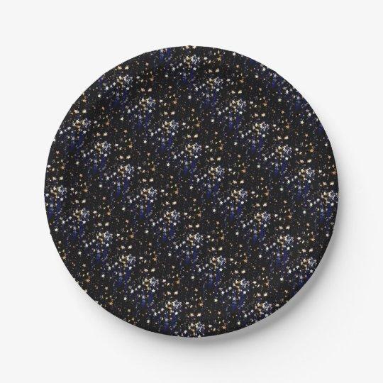 Blue Velvet Effect Stars Paper Plate
