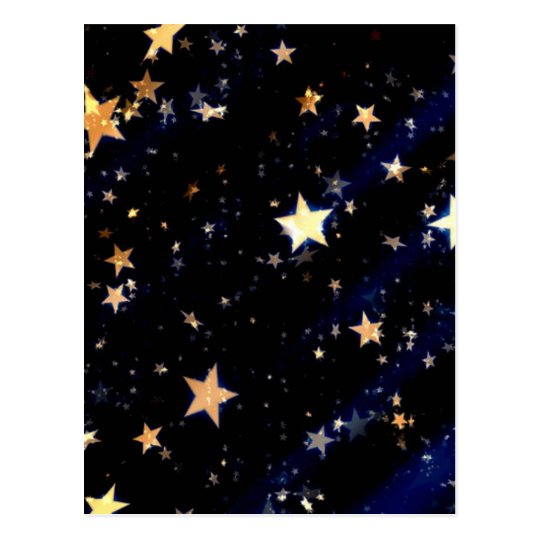 Blue Velvet Effect Stars Postcard