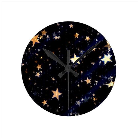Blue Velvet Effect Stars Round Clock