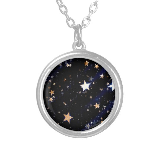 Blue Velvet Effect Stars Silver Plated Necklace