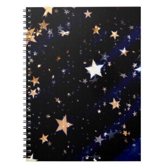 Blue Velvet Effect Stars Spiral Notebook