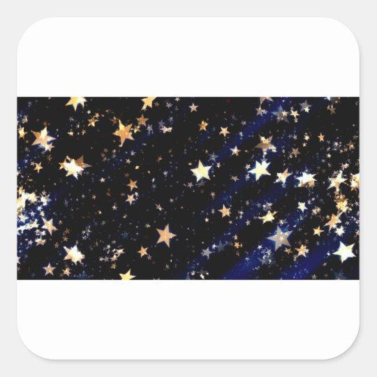 Blue Velvet Effect Stars Square Sticker