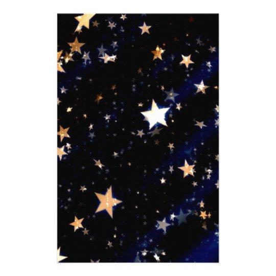 Blue Velvet Effect Stars Stationery