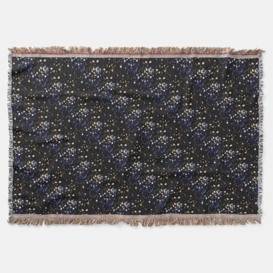 Blue Velvet Effect Stars Throw Blanket