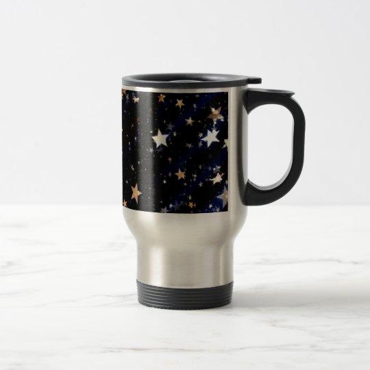Blue Velvet Effect Stars Travel Mug