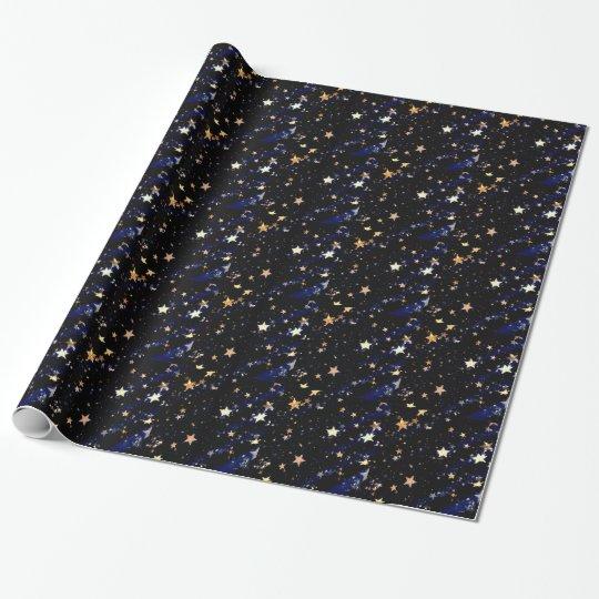 Blue Velvet Effect Stars Wrapping Paper