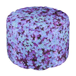Blue Velvet Round Hedge - Flower Surface Texture Pouf