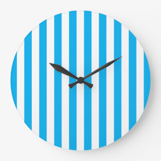 Blue Vertical Stripes Large Clock