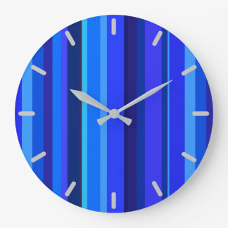 Blue vertical stripes large clock